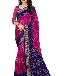 Buy Bandhani Saree (Pink  hand woven Bandhani saree With Blouse) black-friday-deal-sale online