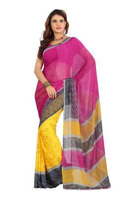Fabdeal Magenta Colored Colombus Chiffon Printed Saree