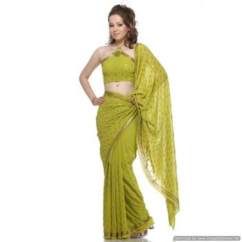 Go Gaga Over , Green Viscous Georgette Sari Embedded With Sequins On The Sari