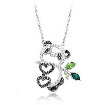 Cara sterling silver and  certified Swarovski stone Panda Pendant