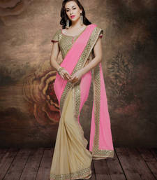 Buy pink embroidered lycra saree With Blouse half-saree online