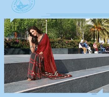 NeelFab Red Georgette Printed Saree-6928
