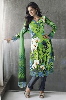 Vishal faux georgette green Dress material Kitten920