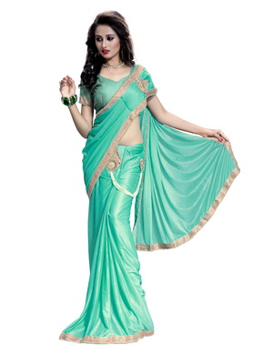 Green plain faux lycra saree With Blouse
