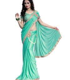 Buy Green plain faux lycra saree With Blouse pre-stitched-saree online
