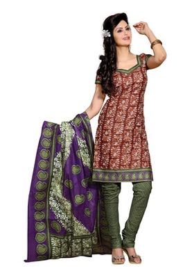 CottonBazaar Brown & Green Colored Pure Cotton Dress Material
