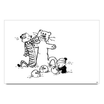 Calvin And Hobbes Playing In Snow Poster