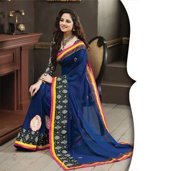 Blue Designer Saree with Prints