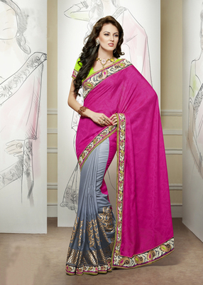 Hypnotex Grey+Pink Jacquard+Viscose Saree Signature1812