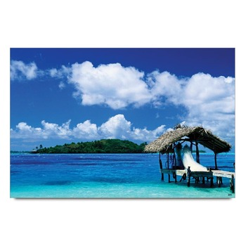 Seaside Blue Hut Poster