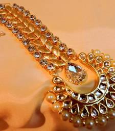 Buy Gold plated kundan maangtika maang-tikka online