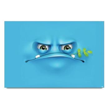 Blue Sad Smiley Poster