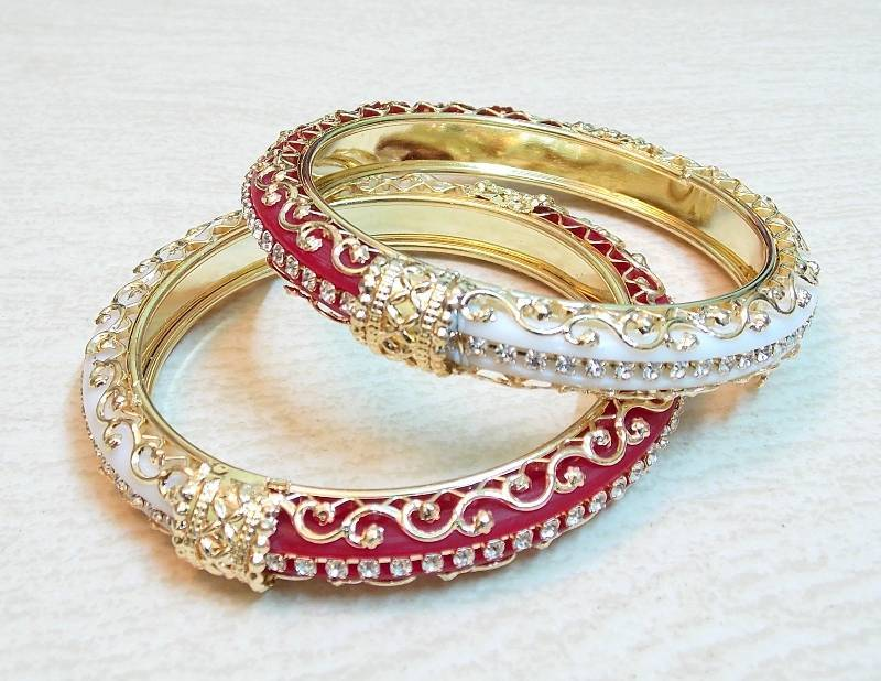Buy Traditional half and half red white cz stud bangle Online