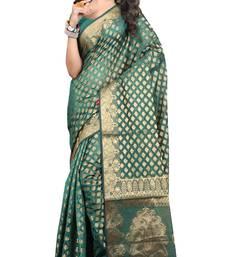 Buy green woven art silk saree with blouse banarasi-silk-saree online