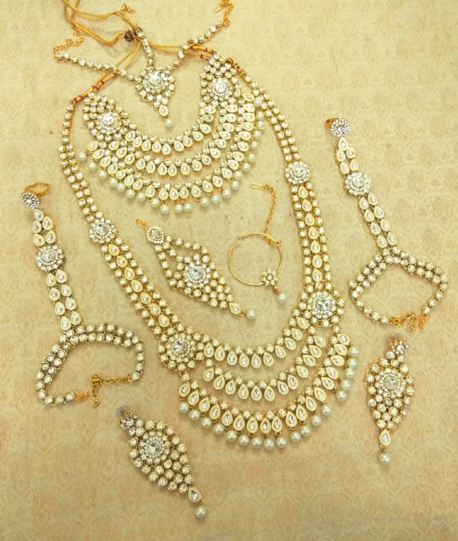 Buy White kundan complete dulhan bridal jewelry necklace set Online