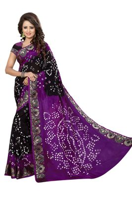 multicolor hand woven bandhani saree With blouse