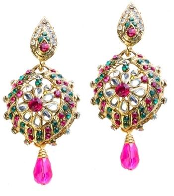Dealtz Fashion Pink & Green Floral Earrings