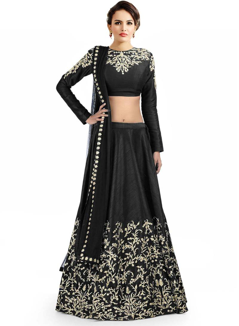 Buy Lehenga Choli By Voovilla Black Online