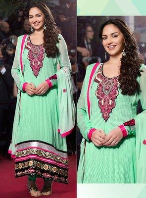 Hypnotex Green Georgette Semi Stitch Dress