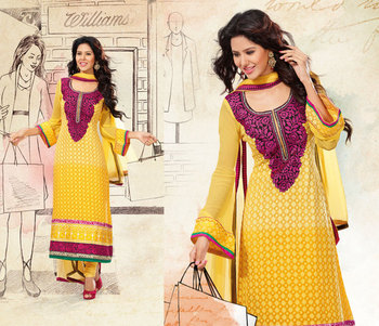 Hypnotex Yellow Pure Georgette Dress Materials