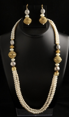 Three layer pearl mala with stylish silver golden beads and pearls