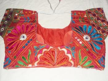 Pure Kachchi Hand work Blouse - Real mirror work - kutch work blouse