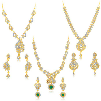 Creative Gold Plated AD Set of three Necklace Set Combo For Women