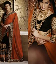 Buy Black & Brown Patch With Zari Embroidered Crepe Wedding Saree With Blouse half-saree online