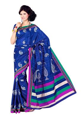 Fabdeal Blue Colored Bhagalpuri  Silk Printed Saree