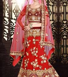 Buy Embroidered maroon pretty lehenga choli ghagra-choli online