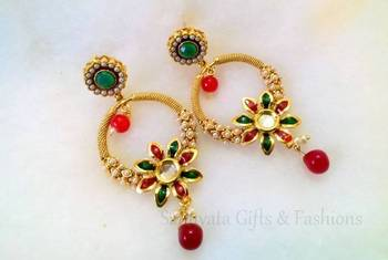 Multi Color Flower With Faux Pearl Danglers
