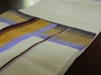 Kerala Cotton Saree with Lavender, Brown and Gold Border