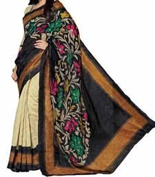 Buy black printed bhagalpuri silk saree With Blouse below-400 online