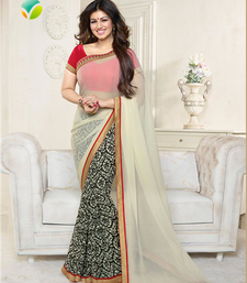 Buy Cream  printed georgette saree With Blouse Saree online