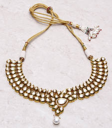 Buy 22 crt gold plated kundan choker Necklace online