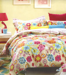 Buy Multicolor cotton double bedsheet with dark floral print bed-sheet online