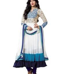 Buy Bluebell closet White georgette embroidered semi stitched salwar with dupatta party-wear-salwar-kameez online