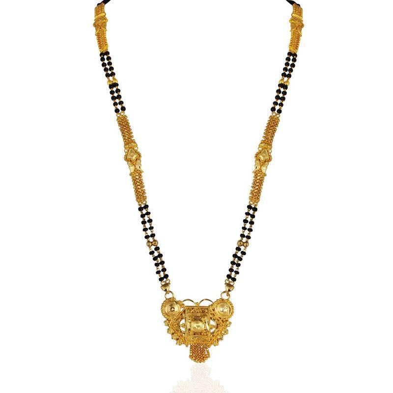 Buy Heena Golden Mangalsutra With Black Bead Chain Online
