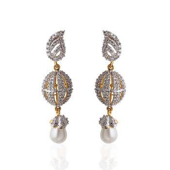 Heena Ball hanging white pearl Earings >> HJER14W <<