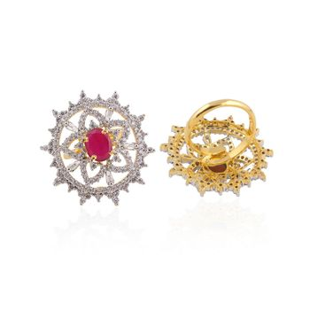 Heena Contemporary Red Stone Ring >> HJRN15R <<