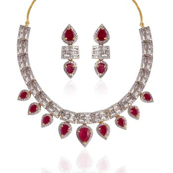 Heena Royal Collection Redcolour stones necklace set >> HJNL120R <<
