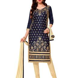 Buy Blue cotton embroidered semi stitched salwar with dupatta black-friday-deal-sale online