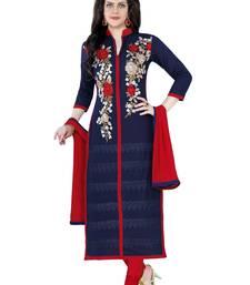 Buy Blue cotton embroidered semi stitched salwar with dupatta cotton-salwar-kameez online