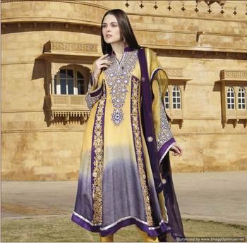 Yellow and Purple Salwar Kameez Churidar Dress Material SCA7194A