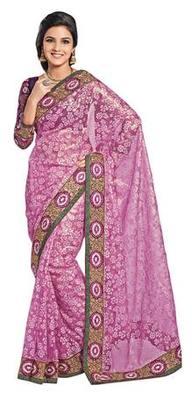 Triveni Startling Pink Evening Wear Border Work Tissue Brasso Indian Saree
