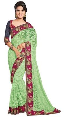 Triveni Staggering Green Evening Wear Border Work Net Brasso Indian Saree