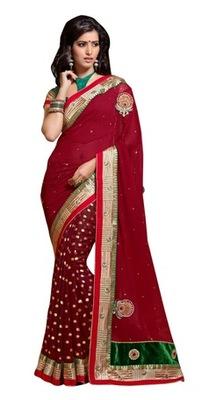 Triveni Indian Traditional Divine Traditional Bordered Half Half Saree