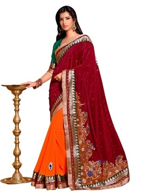 Triveni Indian Traditional Remarkable Traditional Embroidery Bridal Sari