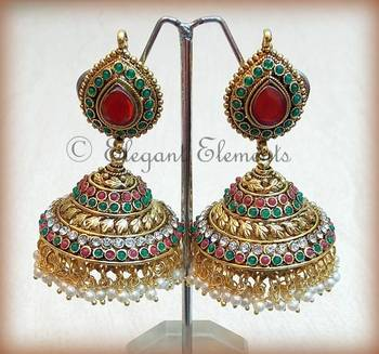 Traditional Ethnic  pearl stud  Jhumkas earring her054