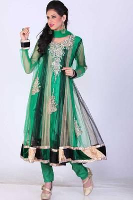 Black and Sea Green Net Embroidered Party and Festival Anarkali salwar Kameez